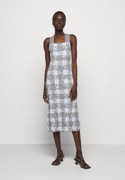Proenza Schouler White Label - GINGHAM JACQUARD KNIT DRESS - Strickkleid - grey melange/sky