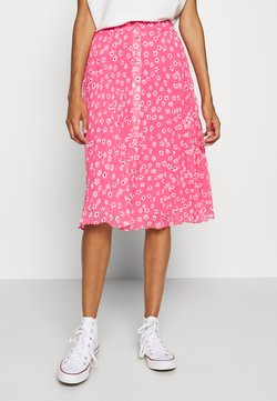 Tommy Jeans - PLEATED BUTTON THRU SKIRT - A-Linien-Rock - glamour pink