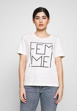 Selected Femme Petite - SLFKORA TEE EX PETITE - Camiseta estampada - snow white/black
