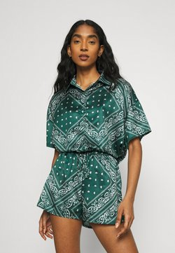 Missguided - PAISLEY OVERSIZED SHORT SLEEVE  - Button-down blouse - green