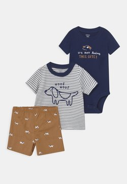 Carter's - STRIPE DOG SET - Camiseta estampada - blue/beige