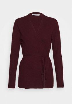 pure cashmere - WRAP CARDIGAN - Cardigan - burgundy