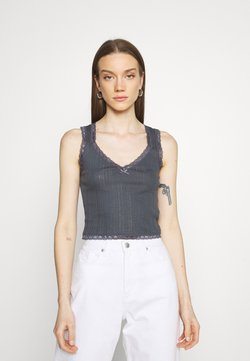BDG Urban Outfitters - LOLA TRIM SOLID TANK - Toppi - washed black