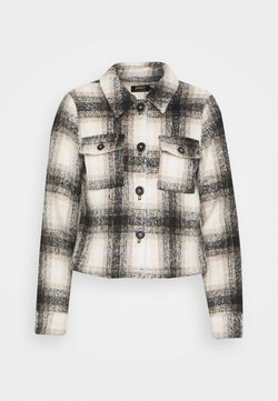 ONLY Petite - ONLLOU SHORT CHECK JACKET - Chaqueta fina - pumice stone/black