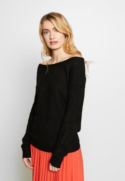 Missguided Tall - OPHELITA OFF SHOULDER JUMPER - Strickpullover - black