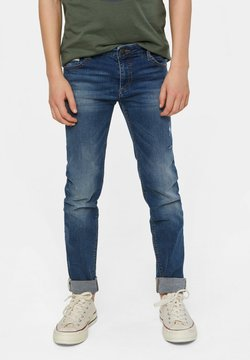 WE Fashion - WE FASHION JUNGEN-SUPERSKINNY-JEANS MIT DISTRESSED-DETAILS - Jeans slim fit - dark blue