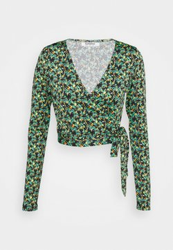 Glamorous - WRAP CROPPED TOP WITH LONG SLEEVES PLUNGING NECKLINE - Blouse - green