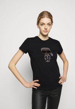 KARL LAGERFELD - IKONIK RHINESTONE KARL - Print T-shirt - black