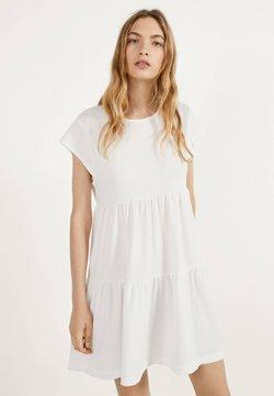 Bershka - MIT KURZEN ÄRMELN - Korte jurk - white