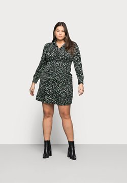 Glamorous Curve - MINI DRESS - Vestido camisero - black/green