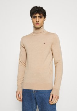 Tommy Hilfiger Tailored - FINE GAUGE LUXURY ROLL  - Pullover - pale camel heather