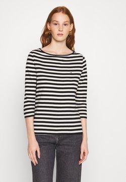 Calvin Klein - SMALL LOGO BOATNECK - Langarmshirt - black/white smoke