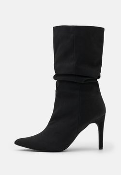 Missguided - RUCHED STILLETO BOOTS - Saappaat - black