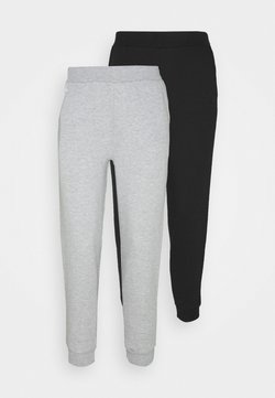 Even&Odd Petite - 2PACK REGULAR FIT JOGGERS - Jogginghose - black/light grey