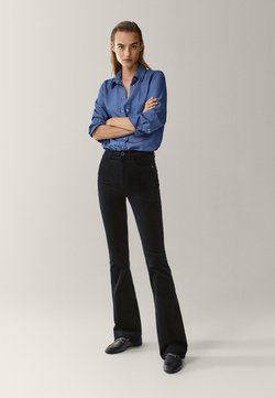 Massimo Dutti - SCHLAG AUS HOHEM  - Flared Jeans - black