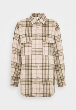 Nly by Nelly - LONG CHECK SHIRT - Hemdbluse - beige/black