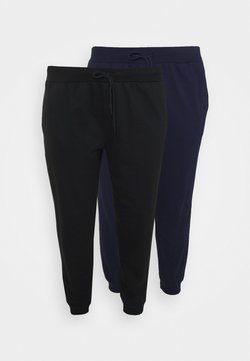Even&Odd Curvy - 2er PACK - SLIM FIT JOGGERS - Jogginghose - black/blue