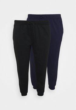Even&Odd Curvy - 2er PACK - SLIM FIT JOGGERS - Pantalon de survêtement - black/blue