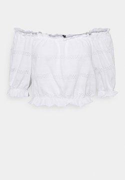 Pieces Petite - PCTAYLEE CROPPED - T-shirt con stampa - bright white