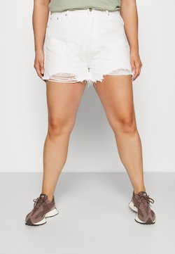 Missguided Plus - EXTREME RIP - Shorts di jeans - white