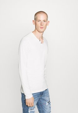 Jack & Jones - JJESPLIT NECK TEE - Pitkähihainen paita - cloud dancer