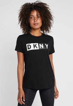 DKNY - CREW NECK SHORT SLEEVE TWO TONE LOGO - Printtipaita - black