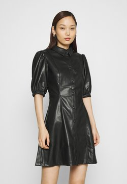 NA-KD - PUFF SLEEVE DRESS - Robe chemise - black