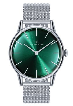 August Berg - UHR SERENITY GREENHILL SILVER SILVER MESH 32MM - Montre - sunray green