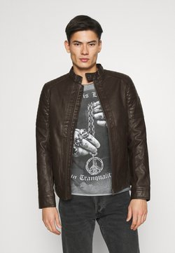 TOM TAILOR - BIKER JACKET - Imitatieleren jas - dark chocolate