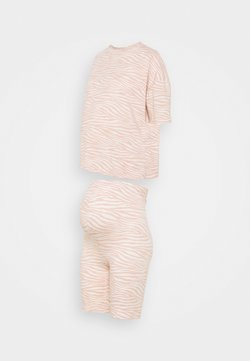 Missguided Maternity - MATERNITY ZEBRRA PRINT TEE AND CYCLING  - Nachtwäsche Set - pink