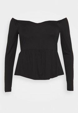 Simply Be - SCUBA PEPLUM - Langarmshirt - black