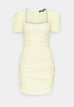 Missguided - RUCHED PUFF SLEEVE MINI DRESS - Tubino - yellow
