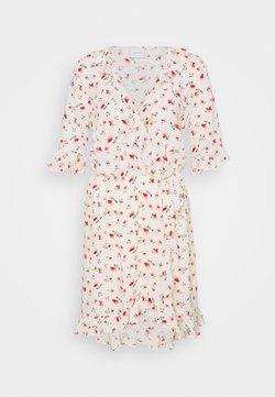 Vila - VILANA DITSY FLOUNCE WRAP DRESS - Korte jurk - white/red