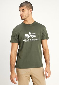 Alpha Industries - BASIC - T-shirts med print - dark oliv