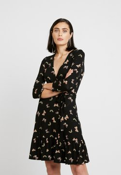 Dorothy Perkins - BUTTERFLY WRAP TIE WAIST - Jersey dress - black