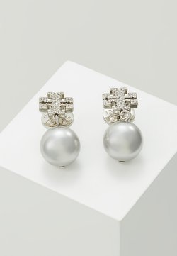 Tory Burch - LOGO DROP EARRING - Earrings - silver-coloured