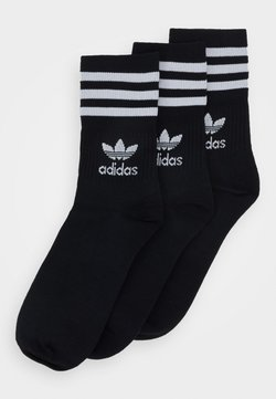 adidas Originals - MID CUT UNISEX 3 PACK - Socken - black/white