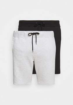 Pier One - 2 PACK - Shorts - black/mottled light grey