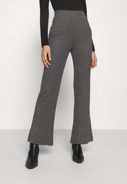 Even&Odd - RIBBED FLARE TROUSERS - Stoffhose - mottled dark grey