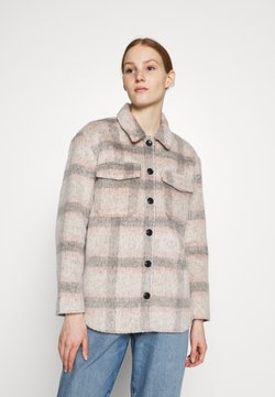 ONLY - ONLKAWI CHECK SHACKET - Kurzmantel - light grey melange/pink/grey