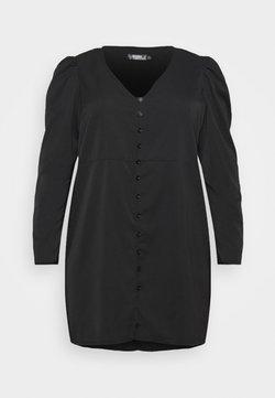 Missguided Plus - BUTTON THROUGH PUFF SLEEVE DRESS - Vestido informal - black