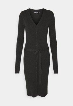 PIECES Tall - PCFRENC V NECK KNIT DRESS - Sukienka dzianinowa - dark grey melange