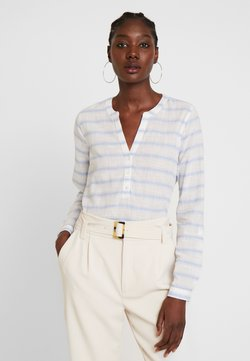 TOM TAILOR DENIM - STRIPED HENLEY BLOUSE - Bluse - white/light blue