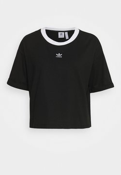 adidas Originals - CROP  - Camiseta estampada - black/white