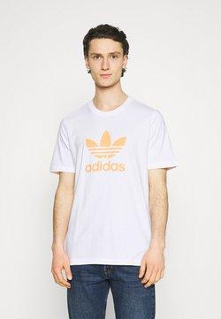 adidas Originals - TREFOIL UNISEX - Camiseta estampada - white/hazy orange