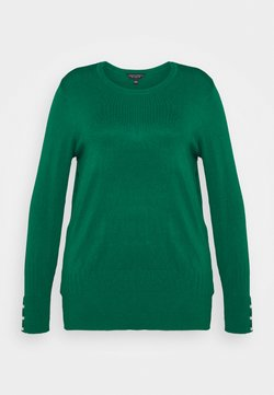 Dorothy Perkins Curve - FOREST CUFF CREW NECK JUMPER - Sweter - green