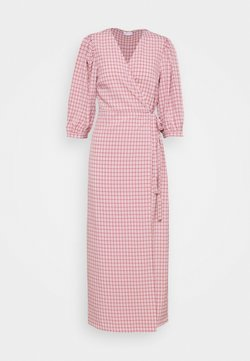 Vila - VIDOLETTA WRAP CHECK DRESS - Maxikjoler - dusty cedar/white