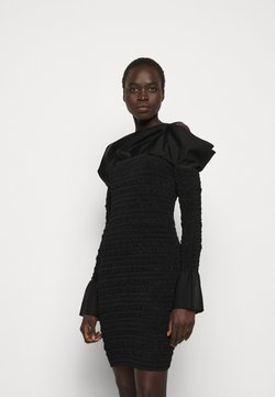 Hervé Léger - PUCKERED STITCH RUFFLE MINI DRESS - Sukienka koktajlowa - black