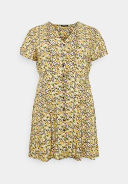 Simply Be - BUTTON THROUGH TEA DRESS - Freizeitkleid - black floral