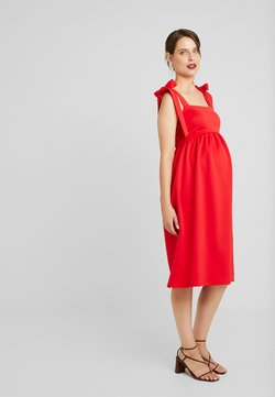 True Violet Maternity - PLUNGE BACK SKATER DRESS WITH BOW DETAIL - Jerseyjurk - red